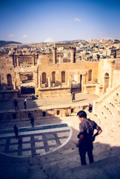 A vew from the upper steps of the Roman-era amphitheater at Jerash, Jordan.