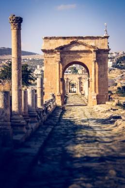 A Roman-era archway in the city of Jerash, Jordan