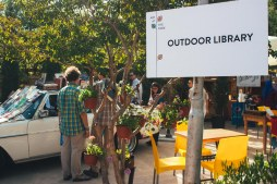 An outdoor library presents a new way of thinking about book culture