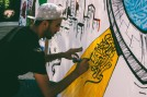 A local artist demonstrates contemporary calligraphy